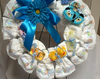 "12"" Baby boy/girl diaper wreath"