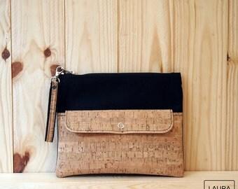 multi-purpose case in black cotton and Cork / multipurpose case black cotton & cork