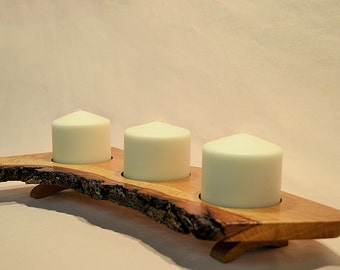 Live edge, oak candle holder