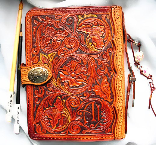 Hand tooled a j journal cover sheridan floral western