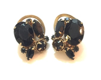 SALE! Black rhinestone gold clip on earrings
