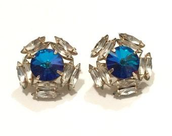SALE! Royal blue rhinestone clip on earrings