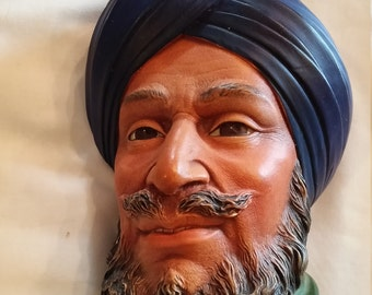 "Vintage 1966 Bosson's Collectible Chalkware Head Figurine ""SIKH"""