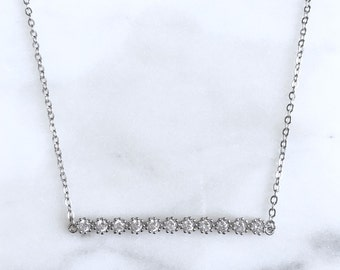 925 Sterling silver geometric bar necklace