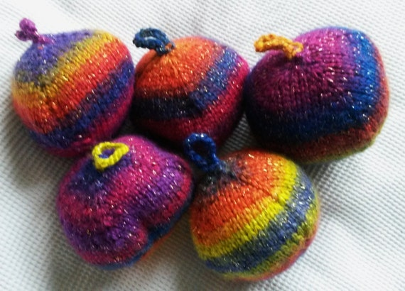 Knit Christmas baubles: large handknit ornaments in multi-coloured yarn with gold thread; each one unique. Made in Ireland. Xmas tree balls.