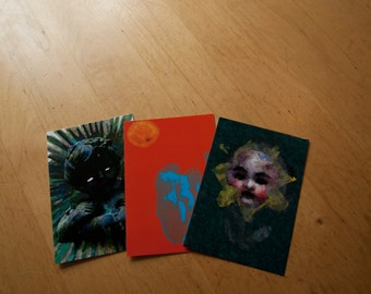 Set of Three Unique Postcards