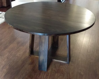 Round Kitchen Table, Dining Table, Hard Wood, Hand Crafted, Custom Made
