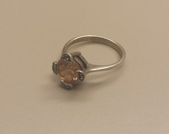 Sterling Silver .925 Ring With Orange Stone