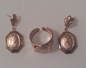 14K Rose Gold Milor Italian Earrings and Ring