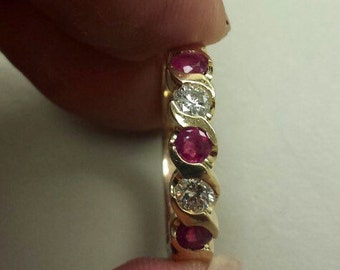 14K Yellow Gold Ring With Rubies and Diamonds, Size 6
