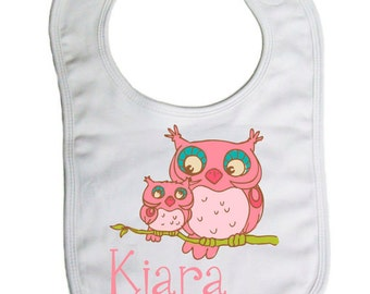 Personalized Pink Owls Baby Bib, Baby gifts, Baby Shower Gift
