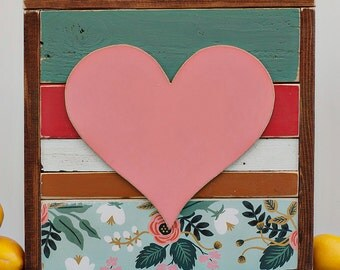 "Heart Wood Sign - ""Harriet"" Heart Reclaimed Wood Wall Hanging"