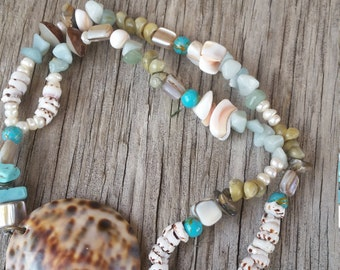 Shell, Pearl & Crystal necklace