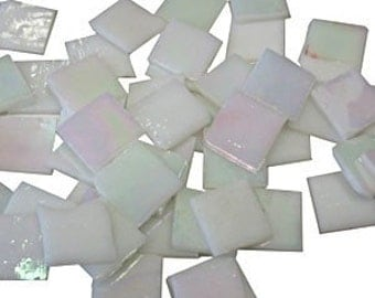 "3/4"" White Iridescent Stained Glass tiles"