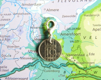 Netherlands dime coin charm in birth year 1982 - 1983 - 1984 - 1985 - 1986 - 1987 - 1988 - 1989