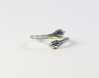 Carved Two Headed Snake Ring - Sterling  Silver