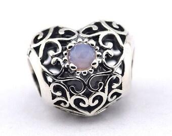 Pandora October Signature Heart Opal Crystal Birthstone Charm 791784NOP