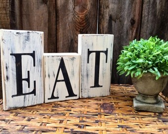 Eat wood block sign black white distressed rustic home decor kitchen decor