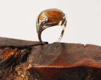 CARAMEL - AGATE, Silver RING. Size 17MM