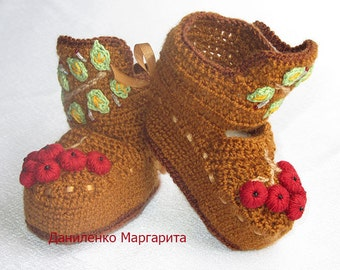 Crochet baby booties.Baby Booties - Knitted Baby Boys or Baby Girls Booties - Handmade Snug Bootees