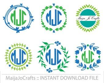circle monogram frame SVG, Cricut monogram frame,  cutting file DXF PNG instant download cricut downloads Vector file Wreath Monogram