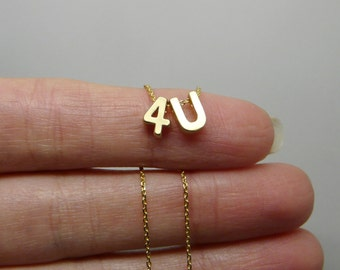 I love you necklace, Love necklace, Initial number necklace, Gift for her, 4U pendant, Gold necklace, Love jewelry