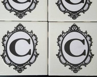 Monogram tile coasters