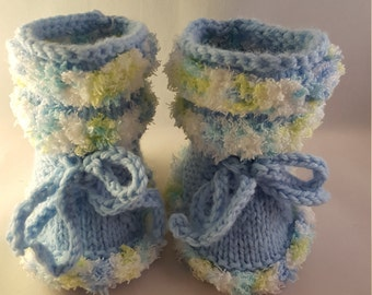 Blue and Yellow knitted baby booties