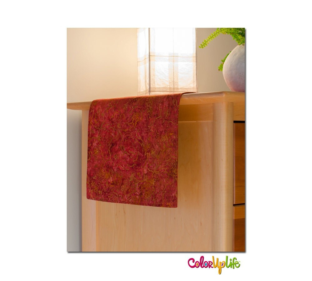 Table runner red batik rusty red earth colors neutral for Table linen color combinations