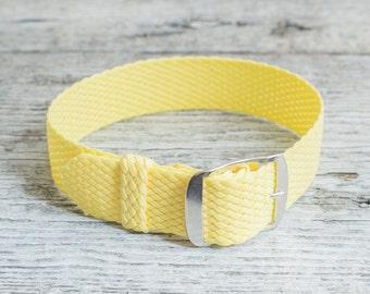 Light Yellow perlon strap ( 18mm ) waterproof nylon strap, watch strap, watch band, perlon band