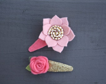 Blush, Coral, and Gold Glitter Felt Flower Snap Clip Set