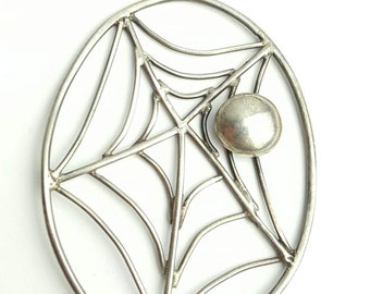 Vintage Navajo Sterling Silver Spider Web Pendant