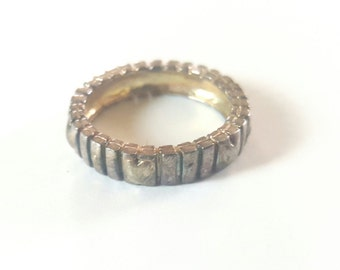 Vintage Blocky Sterling Silver Ring with Heart Motif- Size 7