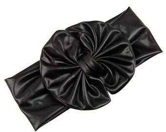 Black Metallic Shine Bow Hairband