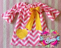 Pink Lemonade Inspired Chevron Dress, Peasant Dress, Yellow/White Polkadot, Unique handcrafted bows & accessories for all ages.