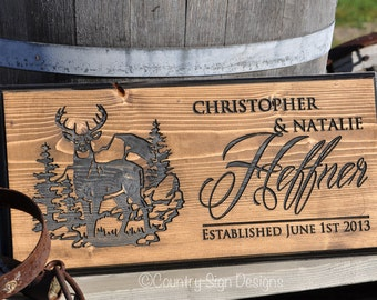 Wooden Family Name Sign with Deer, Wedding Gift, Anniversary, Home decor
