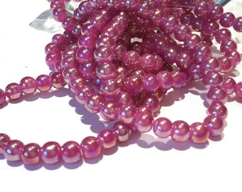 Lot 15 beads 6mm purple/raspberry iridescent Pearly / round glass beads / purple violet beads
