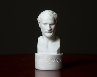 MARBLE bust of Demosthenes statue carved Greek marble figurine