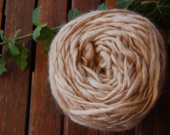 Ball of natural merino wool hand spun