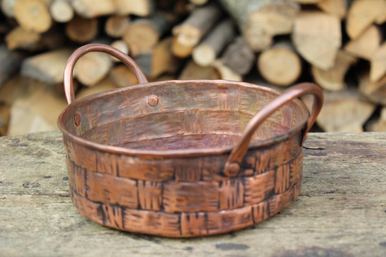 Handmade Copper Basket : Basket round centerpiece handmade copper pot