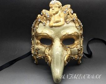 Venetian Half Mask Masquerade Carnival Mens Short Nose Commedia Ornate
