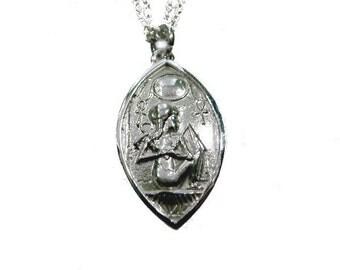 Amulet charm 925 Silver scarab Ankh RAA ISIS hieroglyphs bast Pharaoh