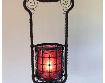 A4408 Aniue Circa 1870's Hand Wrought Iron Intricate Hanging Lantern with Deep Etch Cranberry Glass Shade