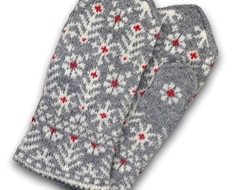 Latvian mittens, wool double mittens, wool mittens, Christmas gift mittens, grey mittens, white mittens, winter mittens women mittens size L