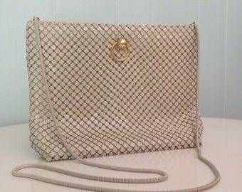 1960s La Regale Mesh Purse   60s White Clutch   Vintage Cream Shoulder Bag