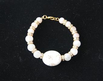 goldstone and cloudy quartz bracelet