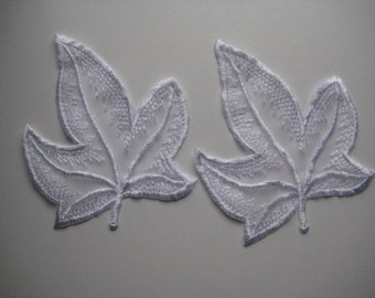 Embroidered organza lace applique. 2 appliques White leaf design.