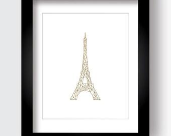 Gold Eiffel Tower, Geometric Eiffel Tower, Printable Paris Art, Gold and White, Stylized Eiffel Tower, France Art, French Art