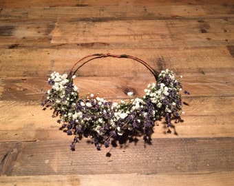 Fresh Baby's breath and lavender flower crown