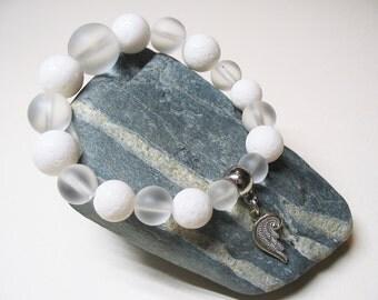 Angel Bracelet-White Coral Bracelet-Quartz Crystal Bracelet-Gemstone Bracelet-Beaded Bracelet-Stretch Bracelet-Angel Wing Charm-Womens Gift-